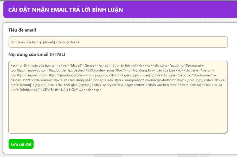 Plugin thông báo tới email khi có người trả lời bình luận