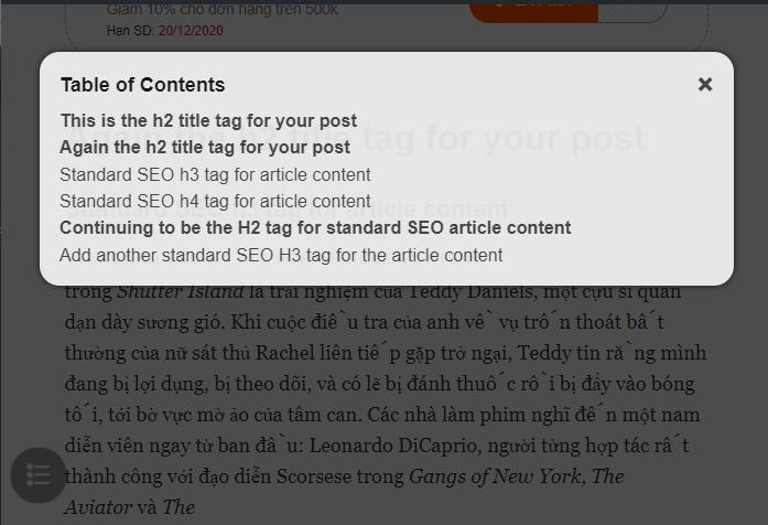 Plugin tạo Mục lục cho bài viết hoàn toàn miễn phí được tạo bởi Cáo Đêm