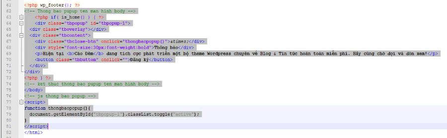 Code thông báo popup xuất hiện khi truy cập vào trang web