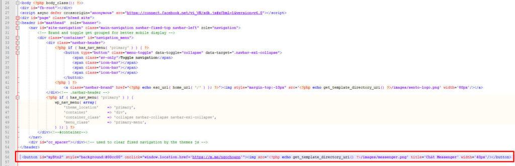 code nút chát messenger cho website